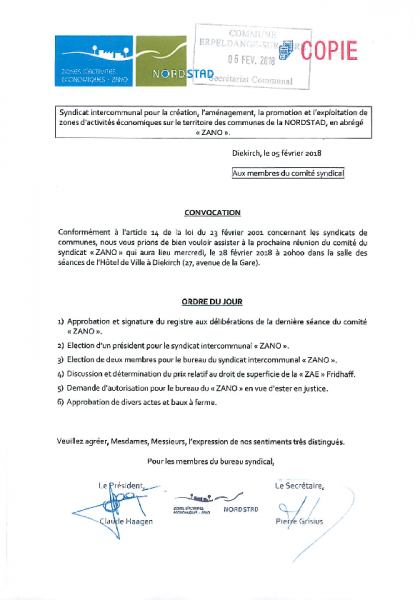 20180207 Syndicat ZANO information comité
