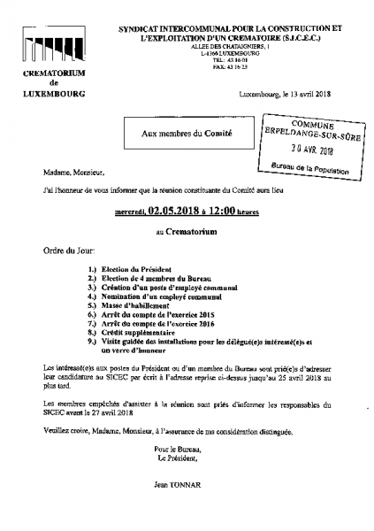 20180502 Syndicat Sicec information comité