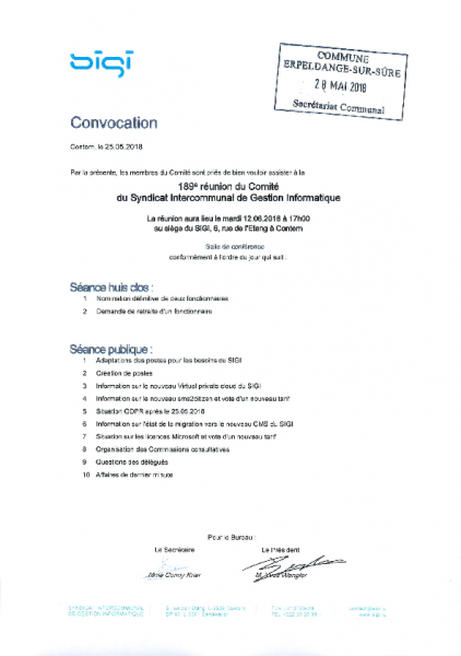 20180530 Syndicat SIGI information comité