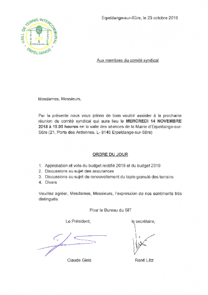20181031 Syndicat SIT information comité