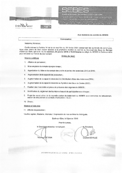 20190116 Syndicat Sebes information comité