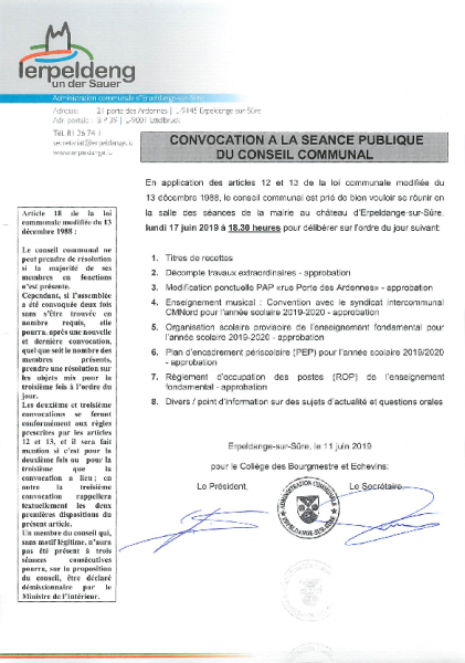 20190611 Convocation conseil communal