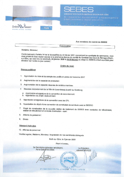 20200122 Syndicat SEBES information comité