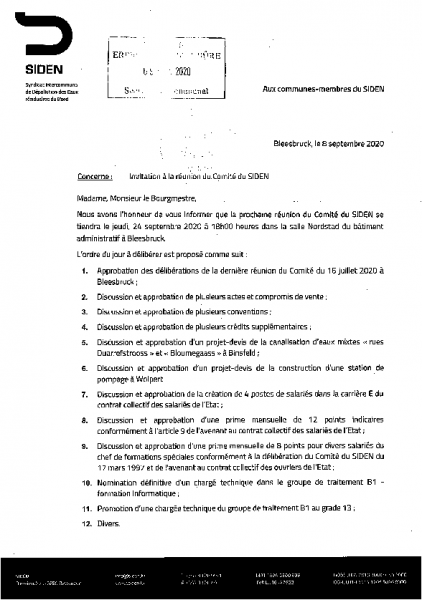 20200909 Syndicat SIDEN information comité