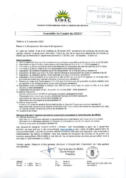 20200909 Syndicat SIDEC information comité