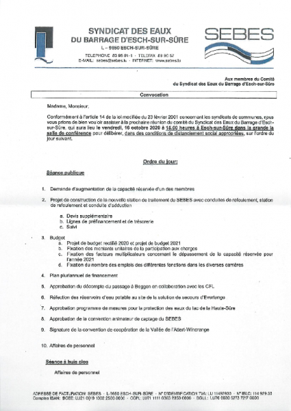 20201007 Syndicat Sebes information comité