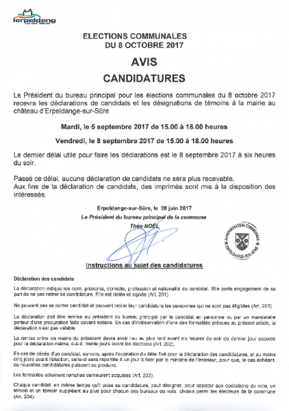 20170628 Elections communales avis candidatures